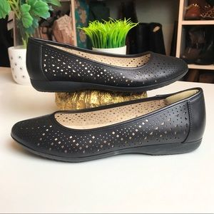 G. H. Bass Co. Hazel Black Perforated Ballet Flats